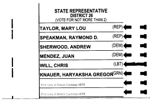 Sample ballot LD26 2012